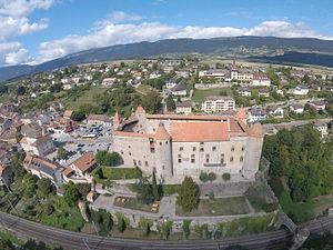 Grandson Castle - Grandson Castle, aerial photo