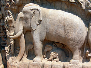 Elephant and other creatures carved in granite...