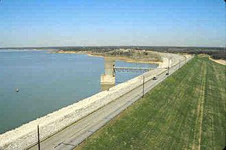 Grapevine Lake - The reservoir's earthen dam
