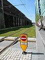 Grassed tram tracks alongside Birmingham Snow Hill station.jpg