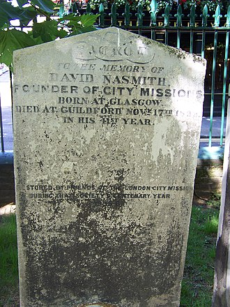David Nasmith - Nasmith's gravestone in Bunhill Fields, London