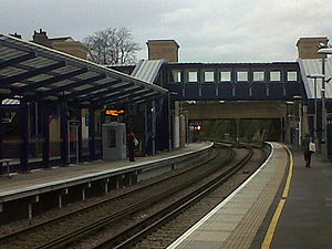 Gravesend railway station - View of new footbridge and lifts at Gravesend Railway Station from Platform 2
