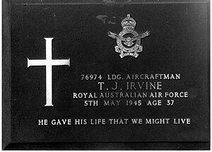 Airfield Defence Guards - Gravestone of Leading Aircraftman Thomas Irvine, Labuan