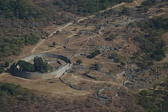 Great Zimbabwe - Aerial view of Great Enclosure and Valley Complex, looking west