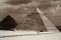 Great Pyramid of Giza (Khufu's pyramid), Pyramid of Khafre (left to right). Cairo, Egypt, North Africa.jpg