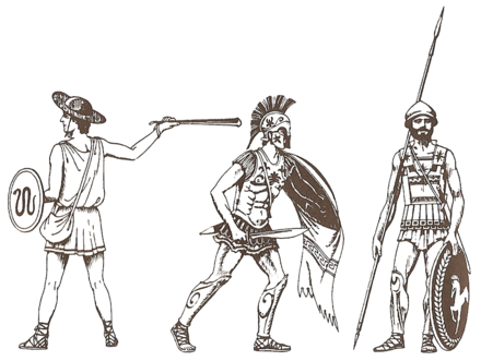 Ancient Greek infantry of the Greco-Persian Wars (499-449 BC): light infantry (left, slinger), and the heavy infantry (middle and right, hoplites) Greek soldiers of Greco-Persian Wars.png