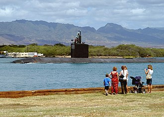Ehime Maru and USS Greeneville collision - Greeneville transits the channel between Pearl Harbor and the Pacific Ocean.