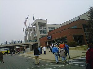 Greensboro Coliseum Complex - Entrance to coliseum before a sports event (c.2010).
