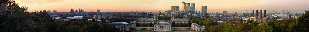 Panoramo pri London, vidita de l'Observatorio di Greenwich.