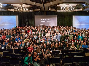 Group photograph of attendees at Wikimania 2018 in Cape Town