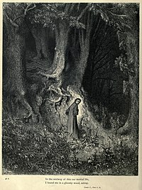 Gustave Doré engravings illustrated the Divine Comedy (1861-1868); here Dante is lost in Canto 1.