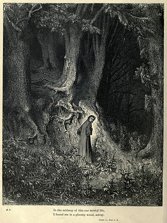 Inferno (Dante) - Gustave Doré's engravings illustrated the Divine Comedy (1861–1868). Here, Dante is lost in Canto I of the Inferno