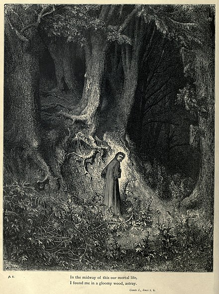 Gustave Doré's engravings illustrated the Divine Comedy (1861–1868). Here, Dante is lost in Canto I of the Inferno