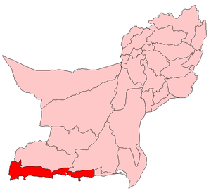 Map of Balochistan with Gwadar District highlighted