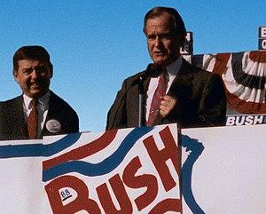 Presidency of George H. W. Bush - Vice President Bush campaigns in St. Louis, Missouri, with John Ashcroft, 1988
