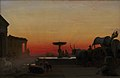 H.J. Hammer - A Square in Ariccia, Italy. After Sunset - KMS826 - Statens Museum for Kunst (1862).jpg