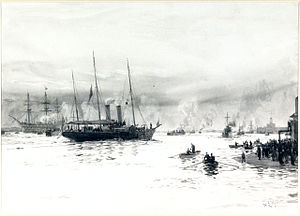 HMY Alberta - 'HMY Alberta Entering Portsmouth Harbour with the Body of Queen Victoria, 1 February 1901', by William Lionel Wyllie