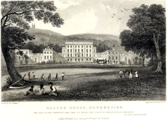 """Haldon House - Haldon House, east front, 1830 engraving, inscribed: """"""""Haldon House, Devonshire. The seat of Sir Lawrence Palk, Bart., to whom this plate is respectfully inscribed"""". Then the seat of Sir Lawrence Vaughan Palk, 3rd Baronet (1793–1860). Haldon Belvedere is visible on the hilltop behind left."""
