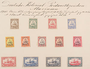 Yacht issue - Sheet with both designs from Mariana Islands (1900).