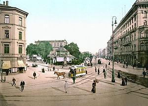 Hannover Georgstraße mit Theater (um 1895)