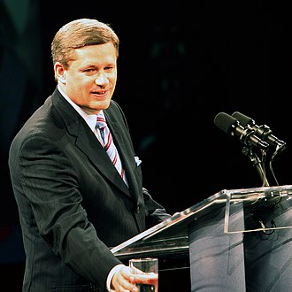 Stephen Harper - Stephen Harper giving a victory speech to party members in Calgary after the Conservatives won the 2006 federal election.