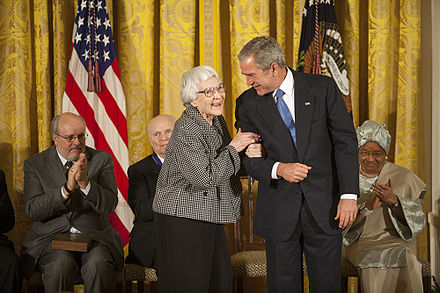 Harper Lee and President George W. Bush at the November 5, 2007, ceremony awarding Lee the Presidential Medal of Freedom for To Kill a Mockingbird Harper Lee Medal.jpg