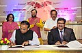 Harsh Vardhan and the Union Minister for Human Resource Development, Shri Prakash Javadekar witnessing the signing of an MoU between Council of Scientific and Industrial Research (CSIR) and Kendriya Vidyalaya Sangathan (KVS).jpg