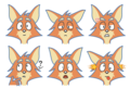 Harvett Fox - Six Facial Expressions (separated) (without background boxes variant).png