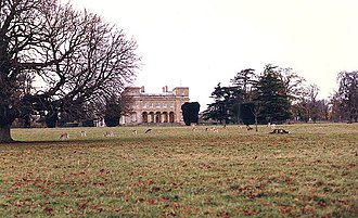 Feudal barony of Hatch Beauchamp - Hatch Court, main entrance front, viewed in 1989 from within the surviving deer park. Built on the site of the mediaeval fortified manor house of the de Beauchamp family