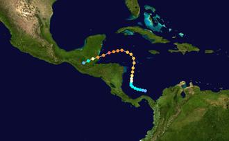 Hurricane Hattie - Image: Hattie 1961 track