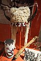 Headdress, Nakoda, early 1900s, moose hide, weasel skin, brass, horsehair, mountain goat horn, rabbit fur, glass beads - Glenbow Museum - DSC00942.JPG