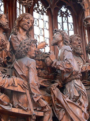 Last Supper in Christian art - Jesus hands Judas the sop, Tilman Riemenschneider, Holy Blood Altar, Rothenburg ob der Tauber, 1501–1505
