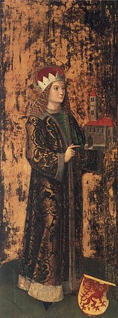 A painting of a long-haired young man holding a church's design in his hand.