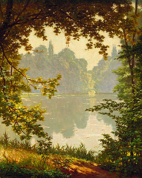 File:Henri Biva, Looking out onto a lake on a summer day, oil on canvas, 73 x 60.3 cm.jpg