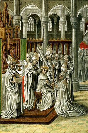 Henry IV of England - The Coronation of Henry IV of England.  From a 15th-century manuscript of Jean Froissart's Chronicles.