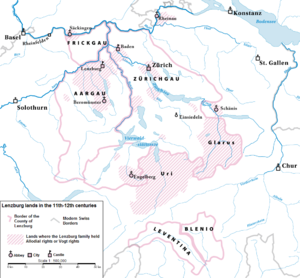 Counts of Lenzburg - Lenzburg lands during the 11th and 12th centuries