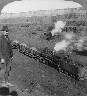 Mesabi Range - Open-pit iron mining with 5-ton steam shovels, Hibbing, Minnesota c. 1906