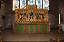 The high altar in the Church of St Mary and All Saints, Chesterfield showing the reredos designed by Temple Moore High Altar, Chesterfield Parish Church.JPG