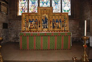 Temple Moore - The high altar in the Church of St Mary and All Saints, Chesterfield showing the reredos designed by Temple Moore