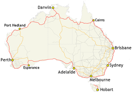 Map of Australia's Highway 1