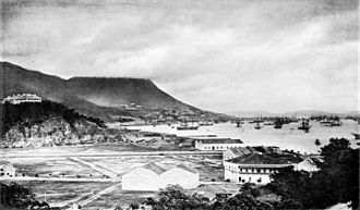 "Morrison Hill - View from East Point in the late 1860s. Photograph by John Thomson. The original caption read: ""The eminence to the left is Morrison's Hill, crowned with a row of substantially built foreign residences, and commanding an extensive and imposing view of the city and ports."""