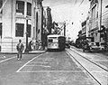 Honolulu trolley bus at the corner of King and Bishop Streets, on 24 October 1944.jpg