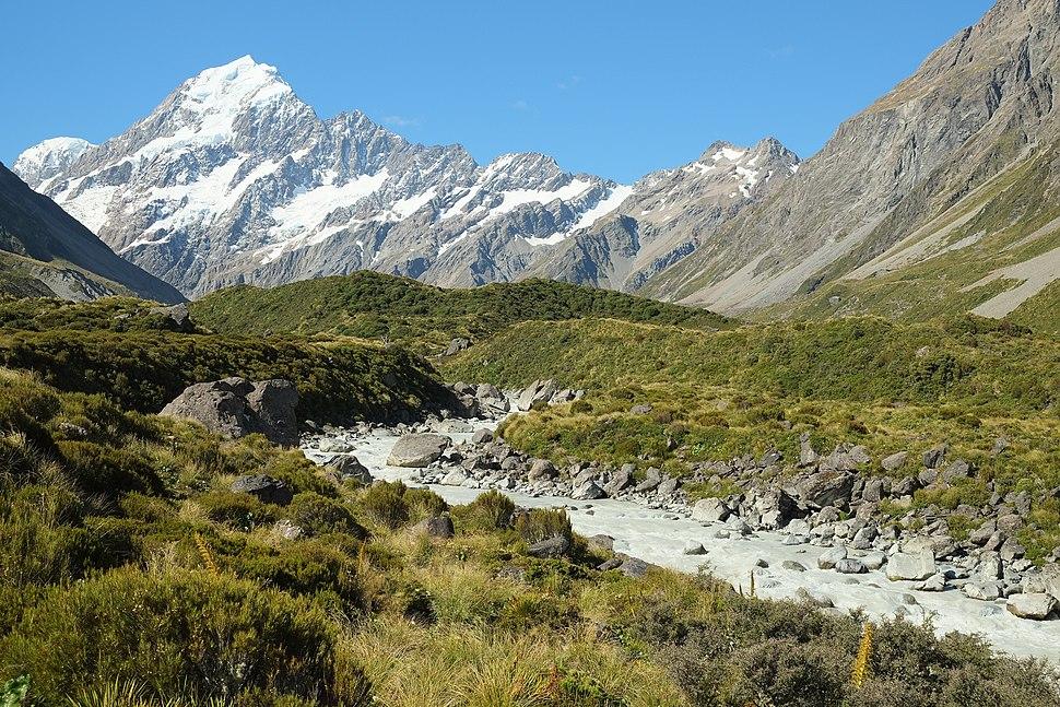 Hooker Valley in front of Mount Cook Range