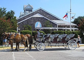 Beaufort, North Carolina - A horse-drawn carriage in front of the North Carolina Maritime Museum