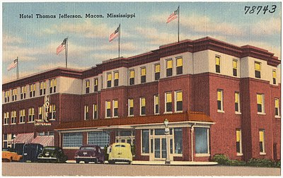 This picture of the Hotel Thomas Jefferson in Macon, Mississippi, was uploaded as part of Wikipedia Summer of Monuments, from a collection at the Boston Public Library. As part of the program, Wikimedia DC worked with cultural institutions to verify that collections of historic photographs were of acceptable copyright status and then initiated mass uploads.