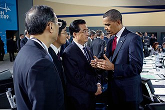 2009 G20 Pittsburgh summit - Hu Jintao and Barack Obama at the plenary session of the summit