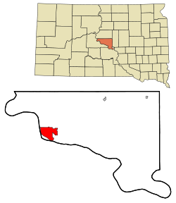 Hughes County South Dakota Incorporated and Unincorporated areas Pierre Highlighted.svg