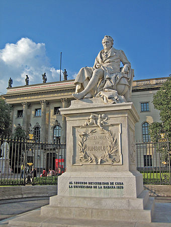 The Humboldt University of Berlin. 40 Nobel Prize winners are affiliated with the Berlin-based colleges. Humboldt monument.jpg