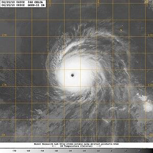 Hurricane Celia (2010) - Infrared satellite image of Hurricane Celia at peak intensity on June 25