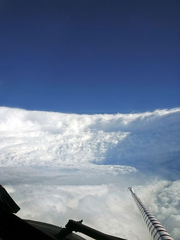 The eye of Hurricane Katrina as viewed from the Hurricane Hunters on August 28, 2005. At this time, Katrina was a Category 5 on the Saffir–Simpson Hurricane Wind Scale, the highest category.